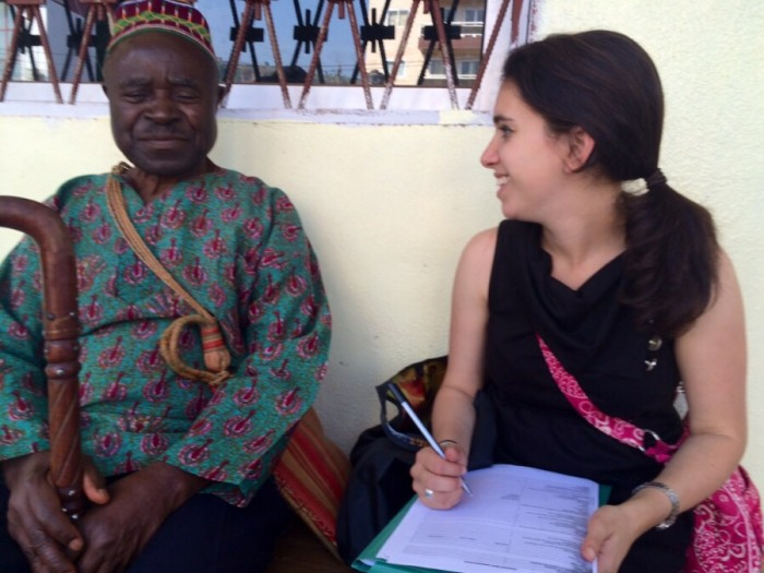 Me interviewing a blind man to better understand the needs of the disability community in Bamenda.