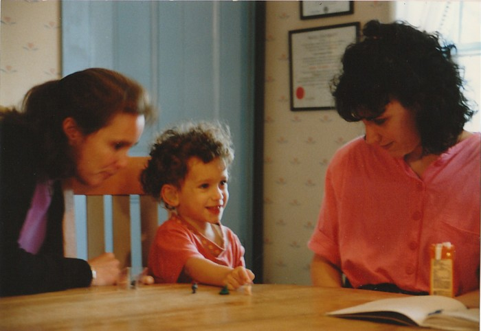 Rachel at age two years old working with Lea who told her parents about cochlear implants.