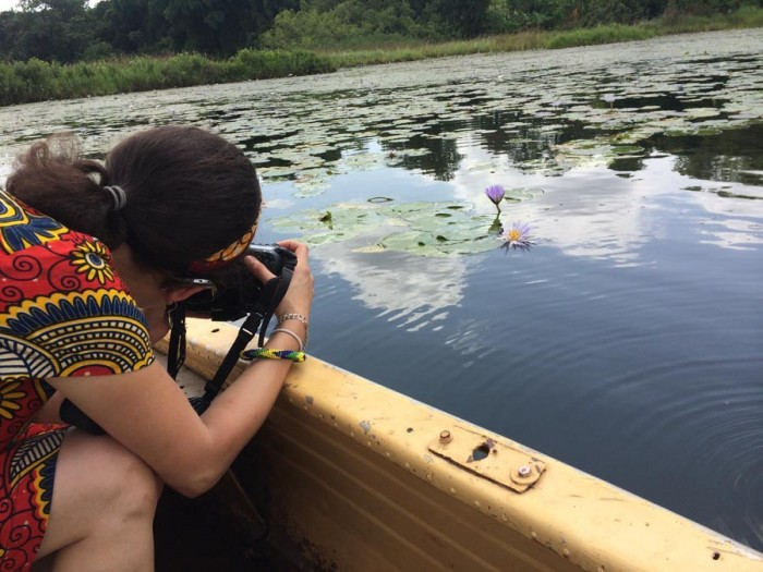 Me photographing the lilies on a lake in Cameroon.