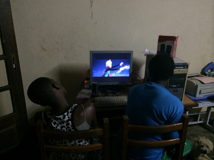 My host family in Mengong enjoy watching Frozen which is not yet available in Cameroon.