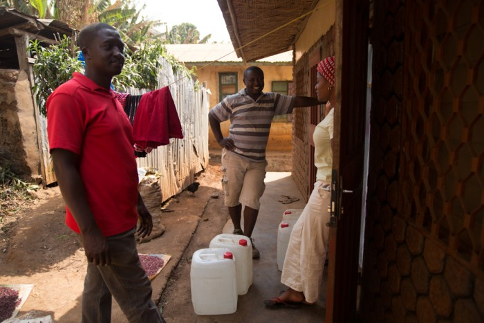 Farmer Tantoh and Felix deliver water to visually impaired students.