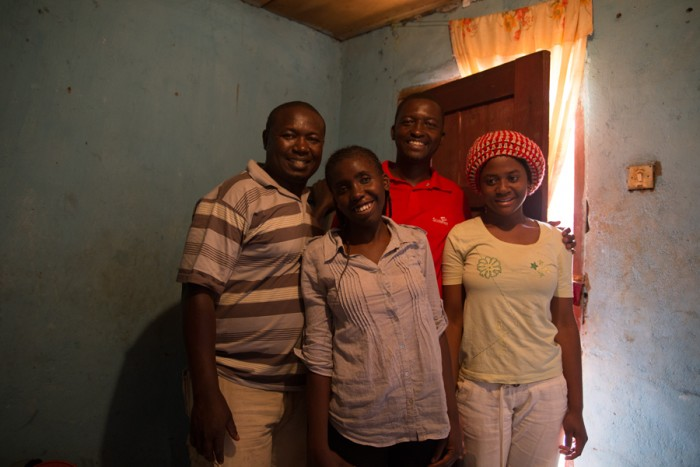 Farmer Tantoh, Felix and two visually impaired students.