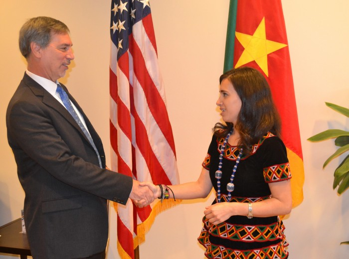 Me shaking U.S. Ambassador to Cameroon Michael Hoza's hand. Photo Credit: U.S. Embassy Yaounde