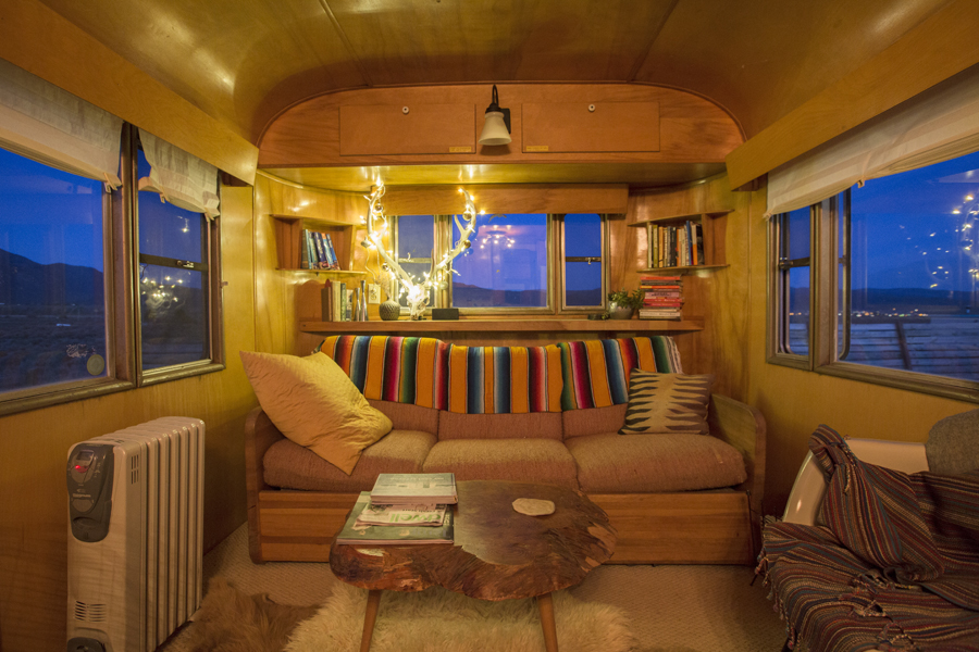 The interior of the trailer in Taos looks quite magical at night.