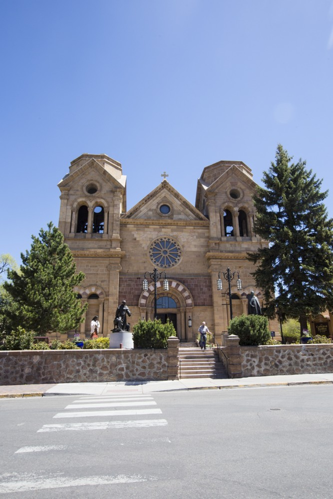 Cathedral Basilica of St. Francis was built between 1869 and 1886 around an adobe church that was built in 1714. There was another church on the same site that was built in 1626 but destroyed in 1680 by the Pueblo Indian Revolt.