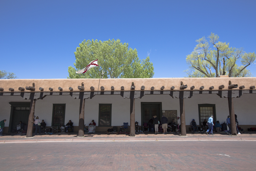 Santa Fe is a beautiful town. This is the Palace of the Governors which is the oldest continuous inhabited building in the US. It was built in 1610 by a Spanish governor of New Mexico. Since 1800's Native Americans have been selling crafts by the Palace. It's best place to buy turquoise according to travel publications. I bought a beautiful hand crafted bracelet with a turquoise stone from a Native American artist.